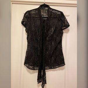 Black lace button down shirt